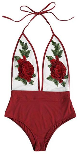 DIDK Women's 3D Rose Applique Backless Halter Bodysuit, burgundy