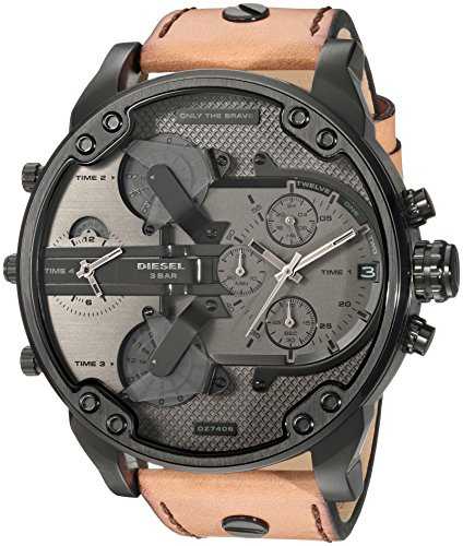 Diesel Men's Mr. Daddy 2.0 Black IP and Brown Leather Chronograph Watch DZ7406