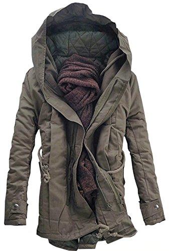 DigerLa Men's Winter Cotton-Padded Parka Jacket With Hood.