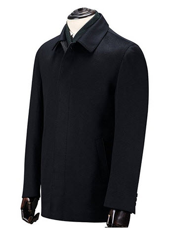 Ding Tong Men's Autumn Black Cashmere Wool Walking Coat Regular Fit Half Trench.