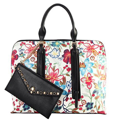 Diophy PU Leather Floral Embroidered Printed Pattern Large Tote Handbag Accented with Studded Dé ...