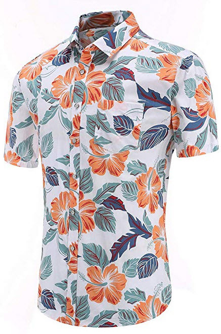 Dioufond Men's Pineapple Flower Casual Button Down Short Sleeve Aloha Hawaiian Shirt plain