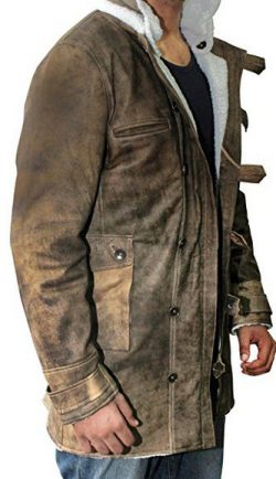 Bling Soul Distressed Brown Real Leather Coat Men Sheepskin Jacket
