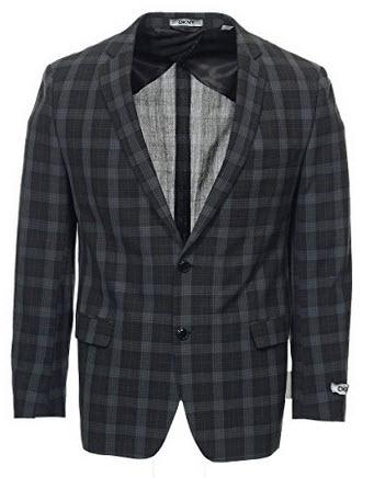 DKNY Men's Gray Plaid 2 Button Sport Coat.