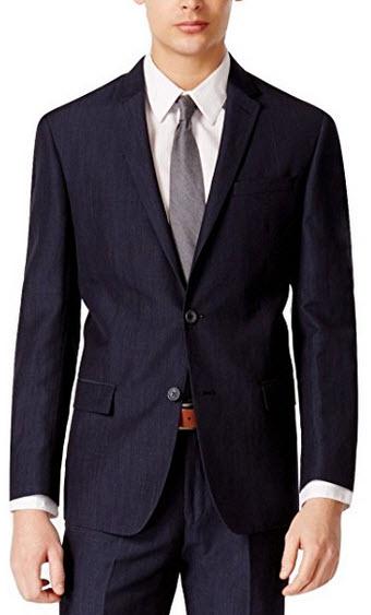 DKNY Slim FIt Navy Neat Two Button Wool Blend New Men's Sport Coat.