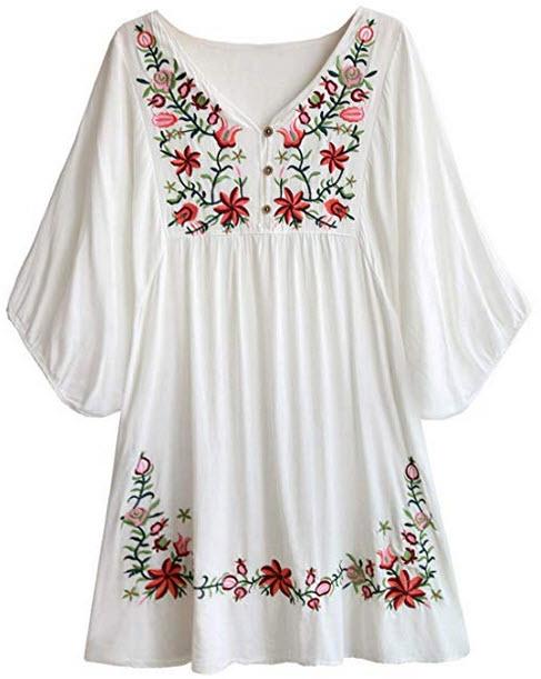 Doballa Women's Floral Embroidery Mexican Tunic Top Bohemian Flowy Shift Mini Blouse Dress ...