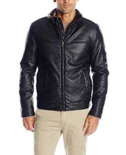 Dockers Men's Smooth Lamb Faux Leather Stand Collar Jacket with Full Faux Fur Lining, Black.