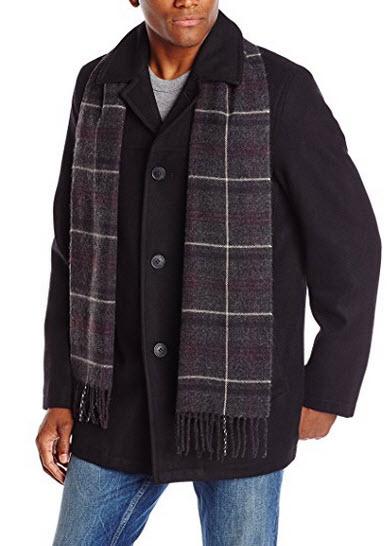 Dockers Men's Wool Melton Walking Coat with Detachable Scarf.