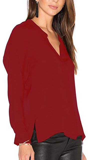 Dohia Womens Long Sleeves V Neck Chiffon Blouses Work Casual Loose Fit Tops Shirts burgundy