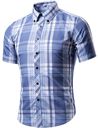 DOKKIA Men's Summer Casual Plaid Checkered Button Down Short Sleeve Shirts