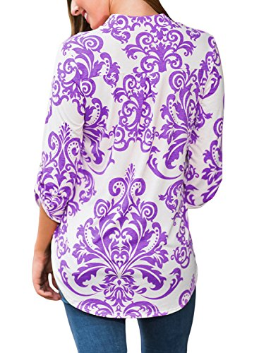 Dokotoo Womens Casual V Neck 3 4 Sleeve Floral Print Blouse