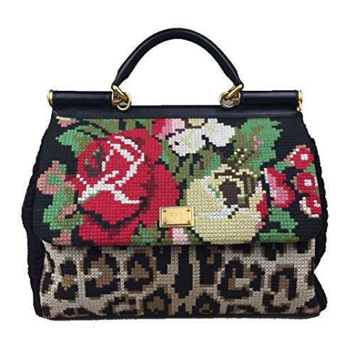 DOLCE & GABBANA Large Miss Sicily Tapestry Hand Embroidered Floral Bag Handbag Purse Tote