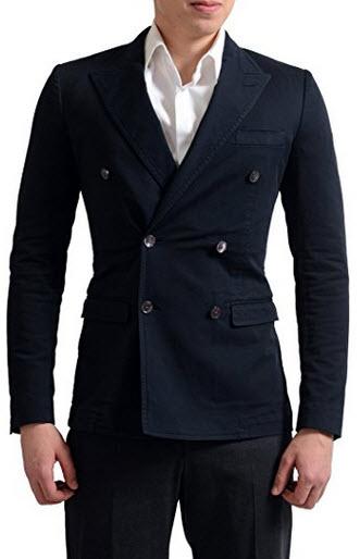 Dolce & Gabbana Men's Dark Blue Double Breasted Sport Coat Blazer US 36 IT 46.