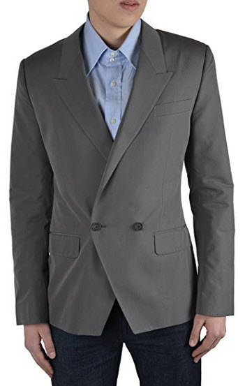 Dolce & Gabbana Men's Gray Double Breasted Silk Blazer Size US 38 IT 48.