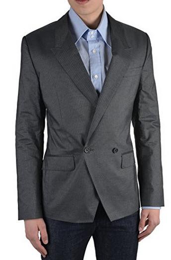Dolce & Gabbana Men's Gray Silk Striped Double Breasted Blazer Size US 38 IT 48.