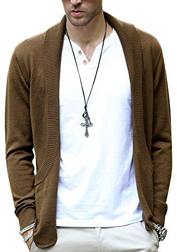 DOOXIUNDI Mens Casual Slim Fit Knit Cardigan with Double Shawl Collar