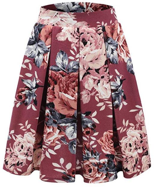 Doublju Elastic Waist Flare Pleated Skater Midi Skirt for Women with Plus Size, mauvegrey