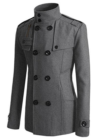 Doublju Mens Wool Slim Double Breasted Half Trench Coat.
