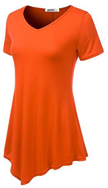 Doublju Womens Short Sleeve Asymmetrical Hem Tunic Shirt with Plus Sizes orange