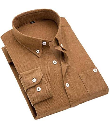 Doufine Men Long Sleeve Button-Collar Pocket Pure Color Suede Casual Oxford Shirt