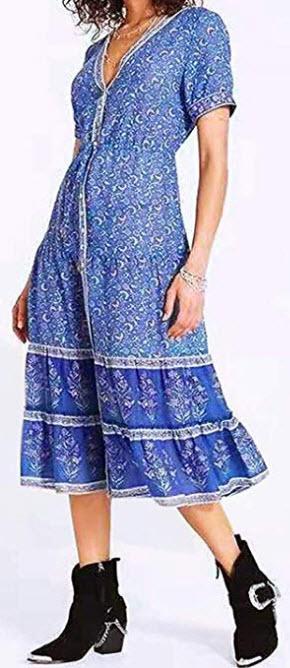 DREAGAL Women's Summer V Neck Button Down Vintage Floral Printed Boho Maxi Dress