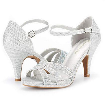 DREAM PAIRS Women's Amore Fashion Stilettos Open Toe Pump Heel Sandals silver glitter