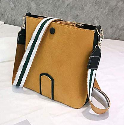 Dream Room Woman Small Bag Wild Shoulder Bag Wide Shoulder Strap Messenger Bag (Brown)