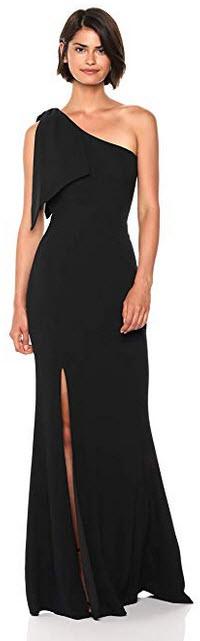 Dress the Population Womens Georgina One Shoulder Bow Detail Trumpet Gown Long Dress black