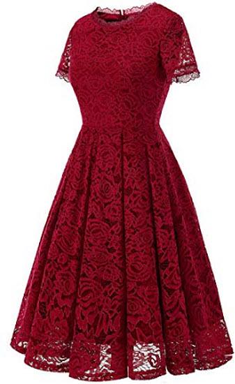 DRESSTELLS Women's Bridesmaid Vintage Tea Dress Floral Lace Cocktail Formal Swing Dress, d ...