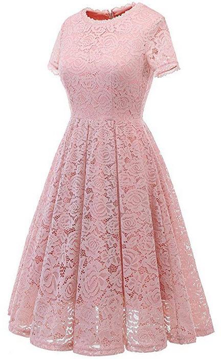 DRESSTELLS Women's Bridesmaid Vintage Tea Dress Floral Lace Cocktail Formal Swing Dress blush