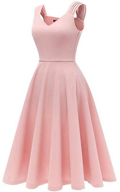 DRESSTELLS Womens Bridesmaid Vintage Tea Dress V-Neck Prom Party Swing Cocktail Dress blush