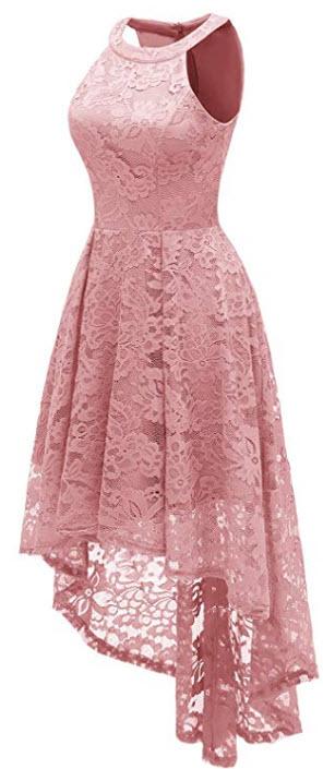 Dressystar Women's Halter Floral Lace Cocktail Party Dress Hi-Lo Bridesmaid Dress, blush