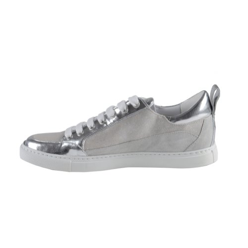 Dsquared Women's Sparkle Silver Suede Leather Fashion Sneakers Shoes