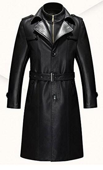 Duberess Double Collar Long Trench Coat Long PU Leather Jacket Parka