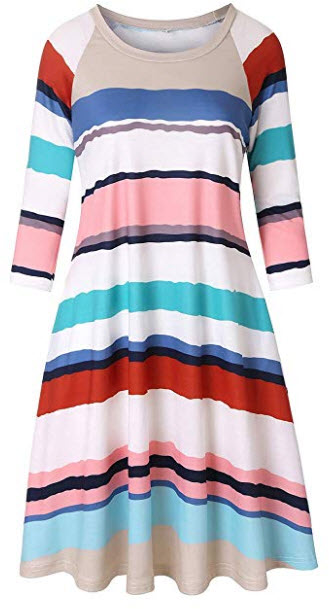 DUNEA Women's 3/4 Sleeve Striped Print Midi Dress with Pockets Women Color Block Raglan Tu ...