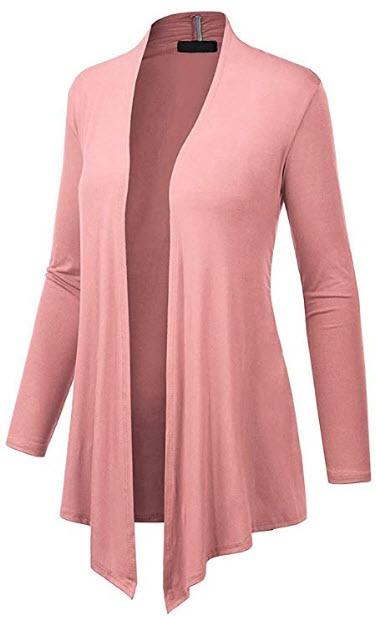 Dutebare Women Long Sleeve Open Front Cardigan Lightweight Drape Cardigans, pink