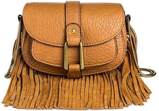DV Women's Faux Leather Crossbody Handbag with Flap Closure cognac