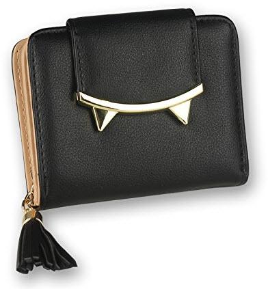DW Girls Small Wallet , Short Leather Coin Purse Card Holder Mini Clutch Bag black