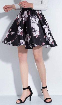 DYS Women's Cute Floral Birds Printed Flared Mini Skirt Casual Circle Skirt f18