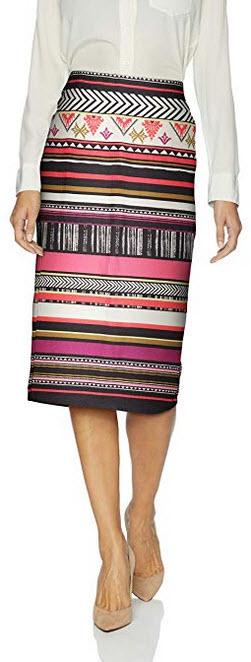 ECI New York Women's Elastic Waist Pull on Printed Midi Length Skirt black red