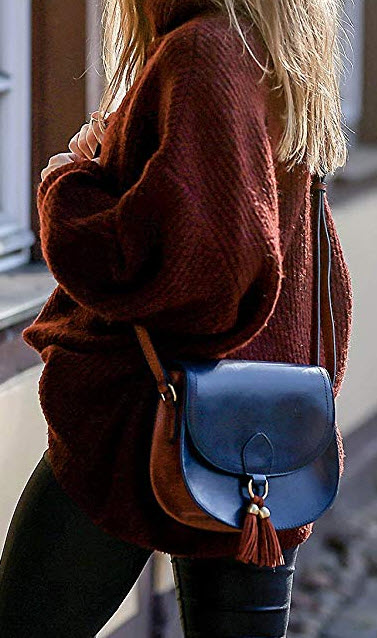 ECOSUSI Saddle Shoulder Bags Purse Vintage Crossbody Bag for Women with Tassels, blue