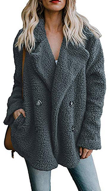 ECOWISH Womens Double Breasted Lapel Open Front Fleece Coat with Pockets Outwear dark gray