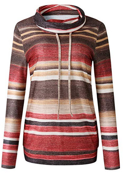 ECOWISH Womens Striped Cowl Neck Pullover Hoodies Drawstring Sweater Long Sleeve Casual Sweatshi ...