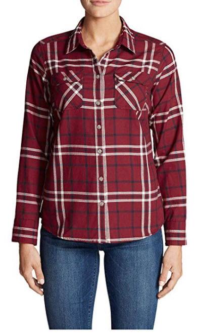 Eddie Bauer Women's Stine's Favorite Flannel Shirt – Plaid Petite maroon
