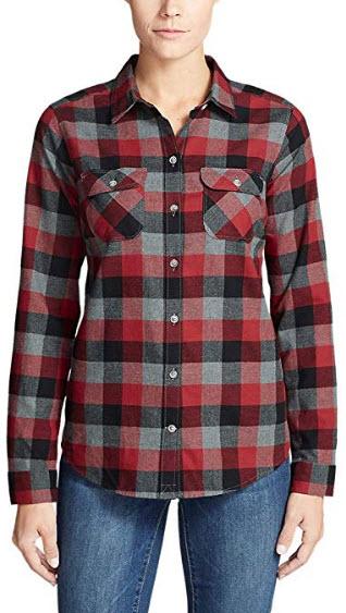 Eddie Bauer Womens Stines Favorite Flannel Shirt – Plaid red clay