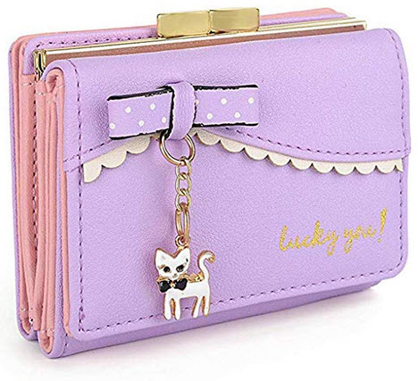 edfamily Womens Leather Cute Cat Bowknot Small Wallet Coins Purse Card Holder purple