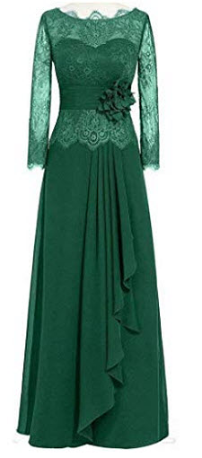 EEFZL Lace Long Sleeves Mother of The Bride Dresses Chiffon Bridesmaid Formal Evening Dresses, d ...