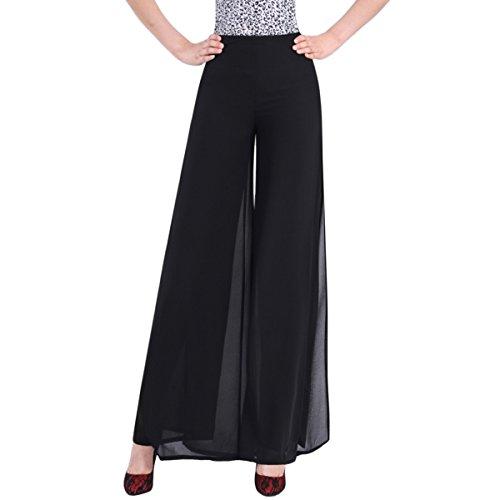 E.JAN1ST Women's Chiffon Palazzo Pants High Waist Solid Lined With Split Lounge Pants