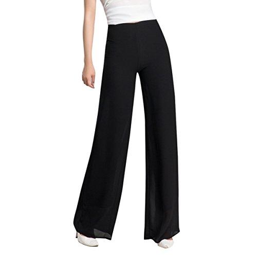E.JAN1ST Women's Palazzo Pants Chiffon Flared Wide Leg High Waist Solid Long Pants