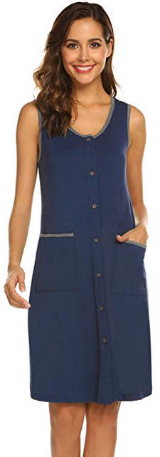 Ekouaer Sleepwear Womens Scoopneck Sleep Shirts Button Down Nightshirts Sleeveless Nightgown S-X ...